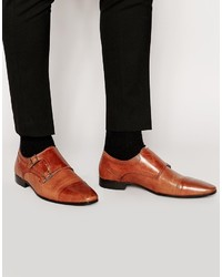 Asos Brand Double Monk Shoes In Leather