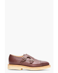 Mark McNairy Brown Scotchgrain Leather Double Monks