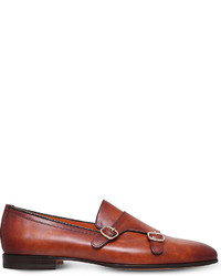 Santoni Carlos Leather Monk Shoes