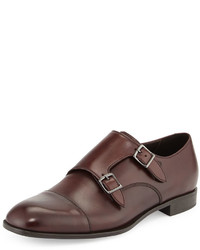 Double monk leather shoe burgundy medium 653261