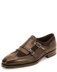 Salvatore Ferragamo Ferragamo Marlin Double Monk Shoe Brown
