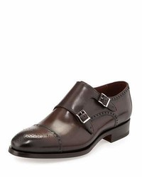 Magnanni For Neiman Marcus Leather Double Monk Shoe Brown