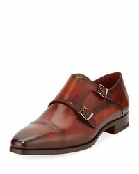 Magnanni For Neiman Marcus Leather Double Monk Shoe Cognac