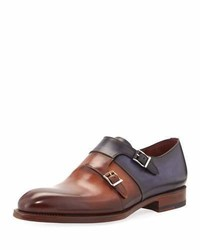 Magnanni For Neiman Marcus Two Tone Leather Double Monk Shoe