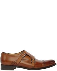Francesco Benigno Brushed Leather Monk Strap Shoes