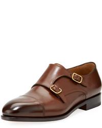 Salvatore Ferragamo Leather Double Monk Shoe Brown
