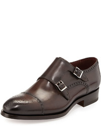 Neiman Marcus Leather Double Monk Shoe Brown