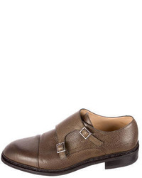 Paraboot Leather Double Monk Strap Loafers