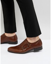 Pier One Leather Monk Shoes In Tan