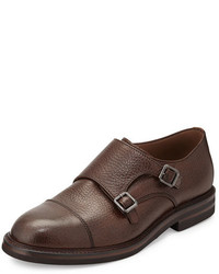 Brunello Cucinelli Leather Monk Strap Loafer Tan