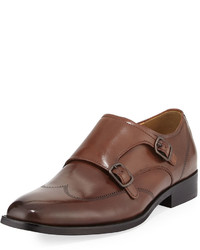 Kenneth Cole Lyfe Of Leisure Leather Double Monk Shoe With Silver Technology Brown