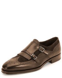 Salvatore Ferragamo Marlin Double Monk Shoe Brown