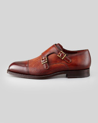 Magnanni Monk Strap Mixed Leather Loafer