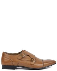 Topman Tan Leather Monk Shoes