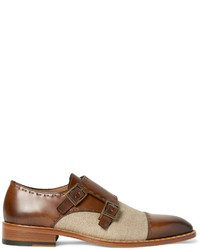 Etro Two Tone Burnished Leather And Canvas Monk Strap Shoes
