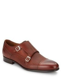 Woven Leather Monk Strap Shoes