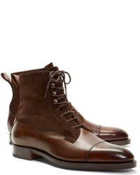 Brooks Brothers Edward Green Galway Suede And Leather Boots