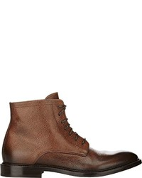 Doucal's Pebbled Leather Boots Brown