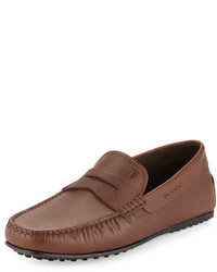 Tod's City Textured Leather Driver Light Brown