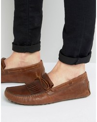 Asos Driving Shoes In Tan Leather With Fringe Detail