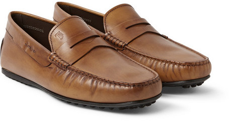 ... Brown Leather Driving Shoes Tod's Gommino Leather Loafers ...