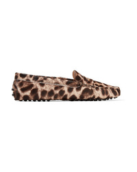 Tod's Gommino Leopard Print Calf Hair Loafers