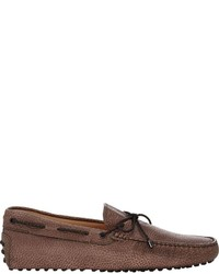 Tod's Grained Leather Tie Drivers Brown