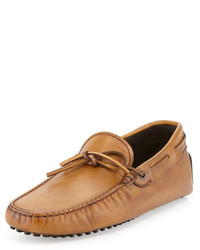 Tod's Leather Tie Driver Brown