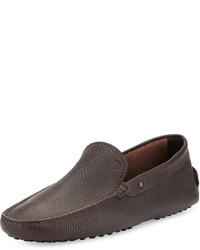 Tod's Pebbled Leather Driver Brown