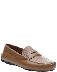 Prada Cinnamon Saffiano Leather Penny Driving Loafers