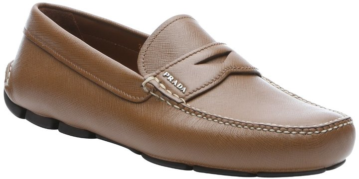 68833e887a $550, Prada Cinnamon Saffiano Leather Penny Driving Loafers