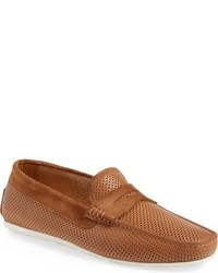 Santoni Tanton Perforated Leather Driving Shoe