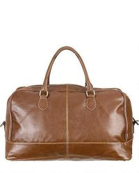 Wilsons Leather Large Faux Leather Duffel W Contrast Stitching Brown