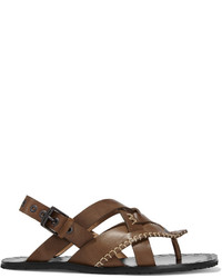 Bottega Veneta Embroidered Woven Leather Sandals Brown
