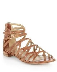 Stuart Weitzman Metallic Leather Gladiator Sandals