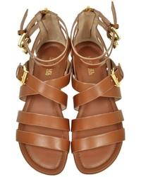 Michael Kors Michl Kors Jocelyn Luggage Leather Flat Sandal