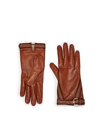 Burberry Jenny Buckle Leather Gloves Tan