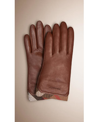 Check trim leather gloves medium 347659