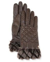 UGG Croft Quilted Leather Smart Gloves Brown