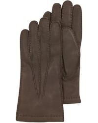 Moreschi Dark Brown Deerskin Leather Gloves Wcashmere Lining