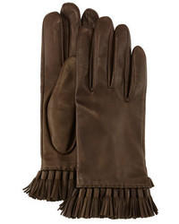 Rebecca Minkoff Leather Mini Tassel Gloves Olive