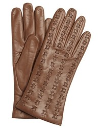 Portolano Pine Brown Leather Cross Stitched Gloves