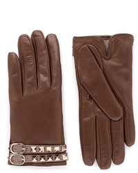 Valentino Rockstud Strap Leather Gloves