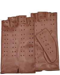 Forzieri Tan Perforated Fingerless Leather Gloves