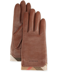 Burberry Tech Leather Gloves With Check Trim Brown