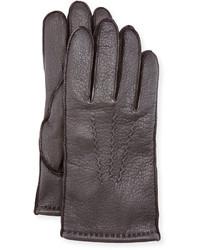 Neiman Marcus Three Point Stitch Leather Gloves Brown