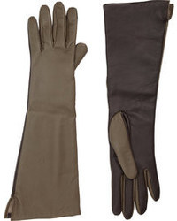 Barneys New York Two Tone Long Leather Gloves