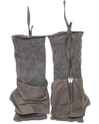 Isabel Benenato Wrinkled Leather Linen Knit Gloves