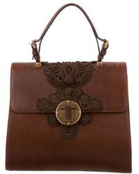 Prada Cervo Antik Embroidered Handle Bag