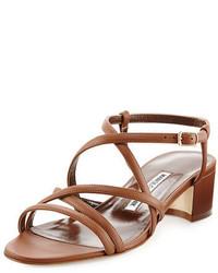 Manolo Blahnik Atrita Leather Block Heel Sandal